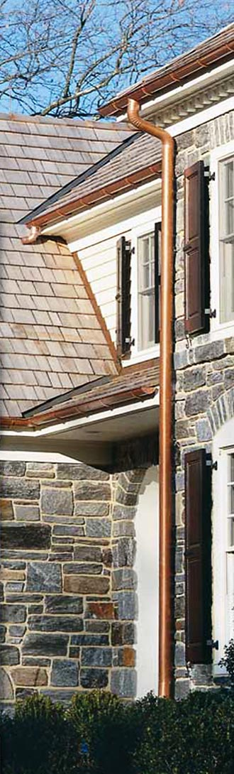 Berger copper half-round gutters installed on a home